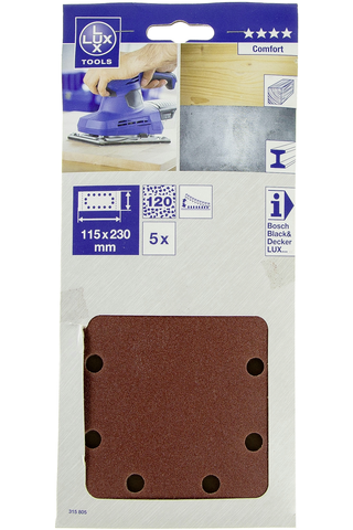 Lux hiomapaperi 115x230mm P120 5kpl