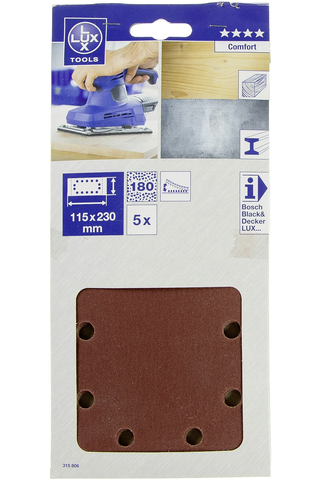 Lux hiomapaperi 115x230mm P180 5kpl Comfort