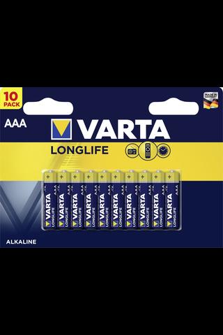 Alkaliparisto Varta Longlife 10xAAA LR03