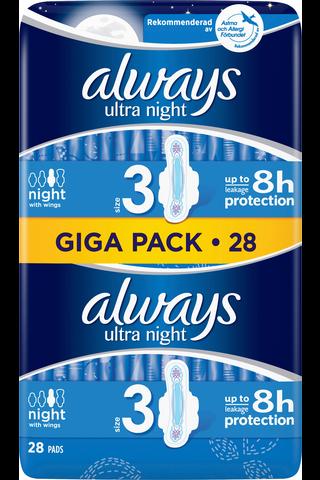 Always 28kpl Ultra Night 3 wings terveysside