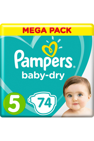 Pampers 74kpl BabyDry S5 11-16kg vaippa