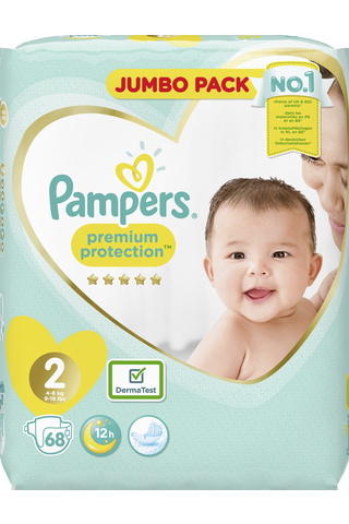 Pampers 68kpl Premium Protection New Baby S2 4-8kg vaippa