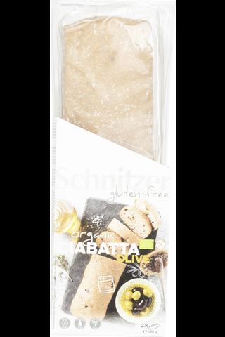Schnitzer 360g Olive Ciabatta esipaistettu leipä gluteeniton luomu 2kpl