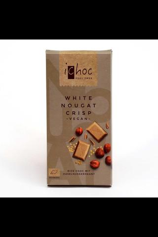 iChoc 80g White Nougat Crisp riisimaitosuklaalevy vegaaninen, luomu