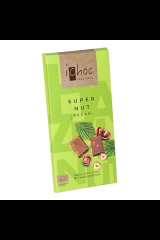 iChoc luomu riisimaitosuklaa superpähkinä 80g