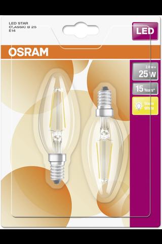 OSRAM led star kynttilälamppu B25 2,8W/827 230V filamentti kirkas lasikupu E14 BLI2