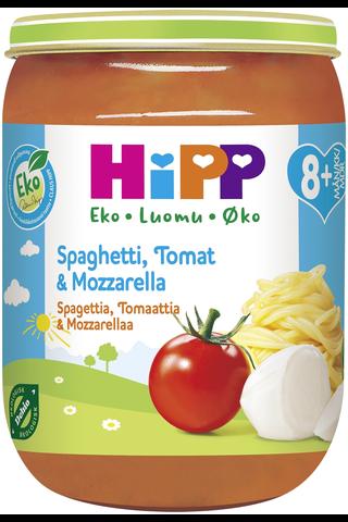 HiPP 190g Luomu Spagettia, Tomaattia ja mozzarellaa 8kk