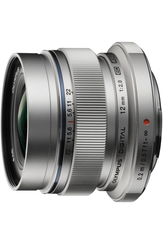 Olympus m.zuiko 12mm f/2.0 objektiivi hopea