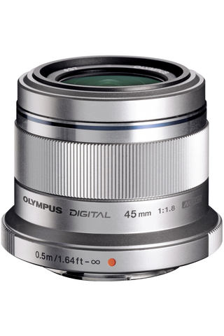Olympus m.zuiko 45mm f/1.8 objektiivi hopea