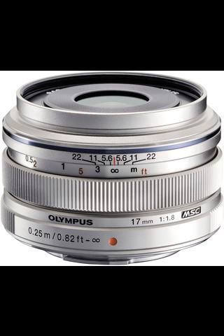 Olympus m.zuiko 17mm f/1.8 objektiivi hopea