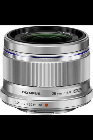 Olympus m.zuiko 25mm f/1.8 objektiivi hopea