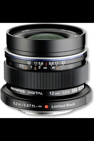 Olympus m.zuiko 12mm f/2.0 objektiivi musta