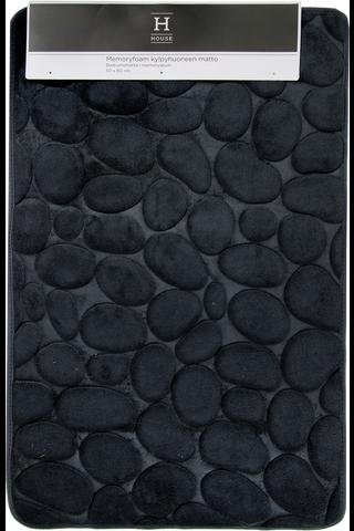 Kylpyhuoneen matto stone memory foam 50x80cm