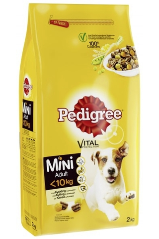 PEDIGREE Mini <10kg 2kg Kanaa ja Kasviksia, täysrehua aikuisille pienikokoisille koirille