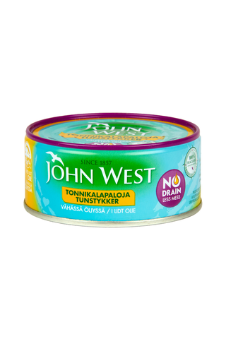 John West 120g Meheviä tonnikalapaloja valmiiksi valutettuina vähässä öljyssä, NoDrain
