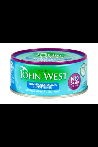 John West 120g Meheviä tonnikalapaloja valmiiksi valutettuina vähässä vedessä, NoDrain