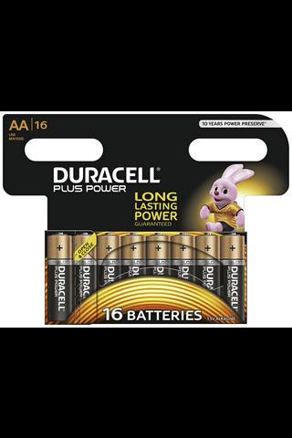 Alkaliparisto Duracell Plus Power AA, 16 kpl