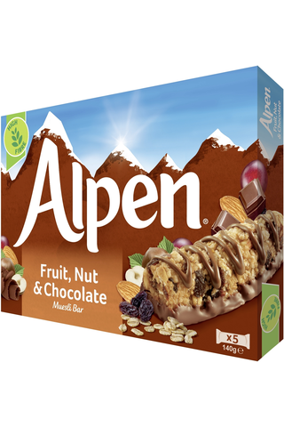 Alpen 5x29g maitosuklaakuorrutettu hedelmä-pähkinä moniviljapatukka
