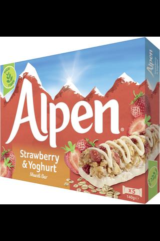 Alpen 5x29g omena-mansikka jogurtinmakuinen kuorrutus moniviljapatukka