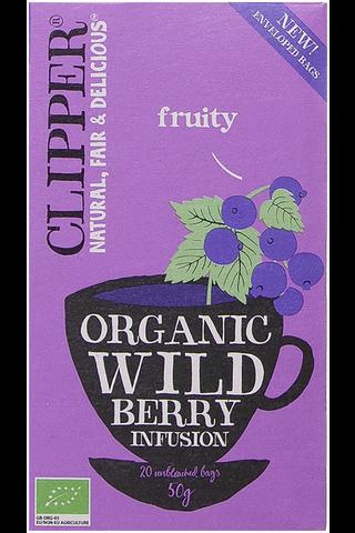 Clipper Wild Berry. Maustettu luomu yrttihauduke, sisältää mustikkaa 50g / 20 pussia