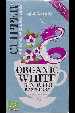 Clipper Vadelman makuinen luomu valkoinen tee 34g / 20 pussia