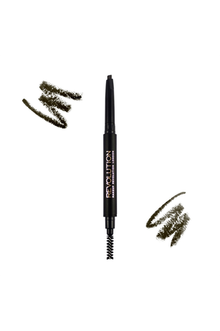 Makeup Revolution Duo Brow Pencil Dark Brown kulmakynä