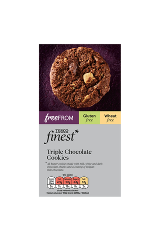 Tesco Finest Free From 150 g Triple Chocolate Cookies kolmen suklaan keksi gluteeniton