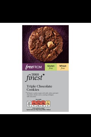 Tesco Finest Free From 150g gluteeniton kolmen suklaan  keksi