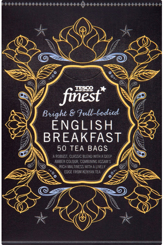 Tesco Finest 125g English Breakfast tee 50ps