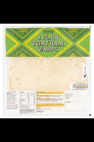 Tesco 320g Plain Tortilla Wraps vehnätortilla 8kpl