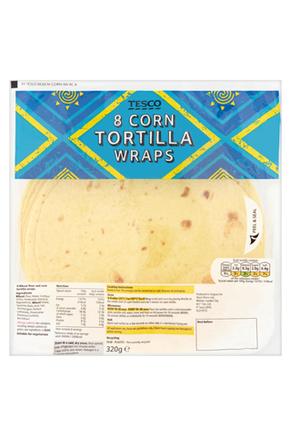 Tesco 320g Corn Tortilla Wraps maissitortilla 8kpl