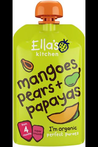 7x120g Ella's Kitchen Mango-päärynä-papaijasose alkaen 4kk LUOMU