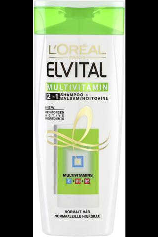 L'Oréal Paris Elvital 250ml Multivitamin 2in1 Shampoo Ja Hoitoaine Normaaleille Hiuksille