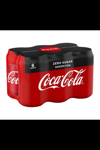 6-pack Coca-Cola Zero Sokeriton virvoitusjuoma tölkki 0,33 L