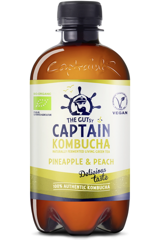 400ml The Gutsy Captain Kombucha Pineapple Peach Splash, Ananaksen ja persikan makuinen kombucha-juoma LUOMU