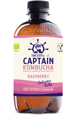 400ml The Gutsy Captain Kombucha California Raspberry, vadelmanmakuinen kombucha-juoma LUOMU