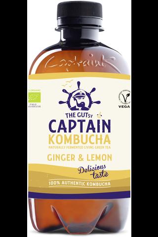 400ml The Gutsy Captain Kombucha Ginger Lemon, Inkiväärin ja sitruunan makuinen kombucha-juoma LUOMU