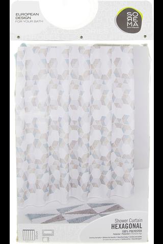 Sorema Suihkuverho Hexagonal 180x200cm kuviollinen