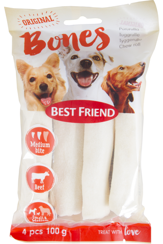 Best Friend Bones pururulla 12cm S/M 4kpl valkoinen