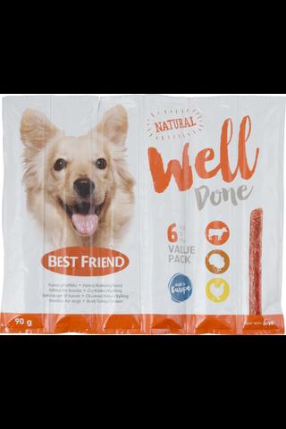 Best Friend 90g WellDone koiran pihvitikku nauta-kalkkuna-kana 6-pack