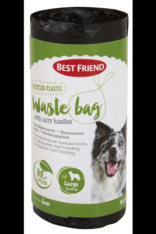 Best Friend Koiran kakkapussi L (21x39 cm) kantokahvoilla, kierrätysmuovia