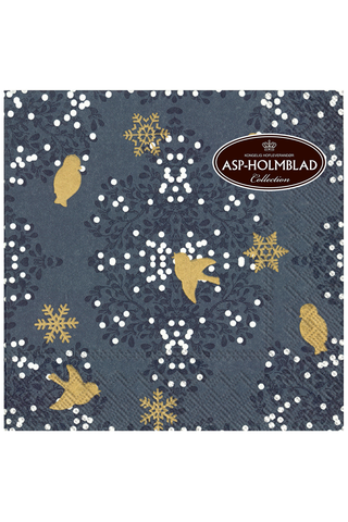 ASP 33cm Birds In Mistletoe Blue Lautasliinat