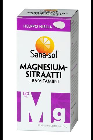 Sana-sol Magnesiumsitraatti + B6 vitamiinitabletti 120tabl