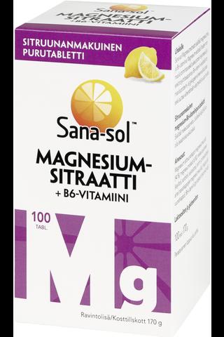 Sana-Sol Magnesiumsitraatti+B6-vitamiini sitruunanmakuinen purutabletti 100tabl