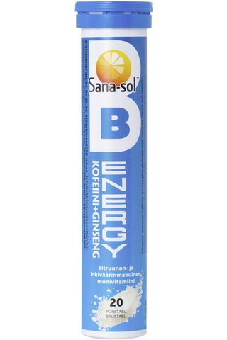 Sana-Sol B-Energy+Kofeiini+Ginseng Sitruunan- ja inkiväärinmakuinen vitamiini-kivennäisaineporetabletti 20kpl