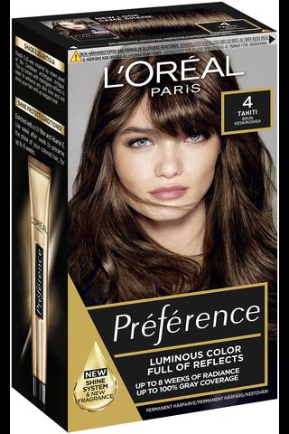 L'Oréal Paris Préférence Infinia 4 Tahiti Natural Brown Keskiruskea kestoväri