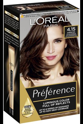 L'Oréal Paris Préférence Infinia 4.15 Caracas Deep Mahogany Brown Syvä mahonginruskea kestoväri