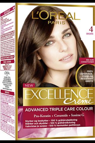 L'Oréal Paris Excellence Creme 4 Brown tummanruskea kestoväri
