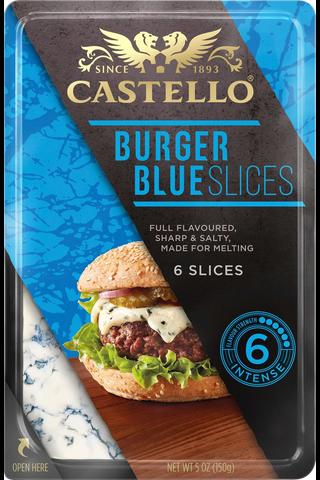 Castello 150 g  Burger Blue sinihomejuusto viipaleet