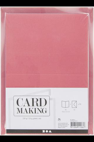 Nellen korttipohja ja kirjekuoripakkaus punainen/vihreä 50kpl